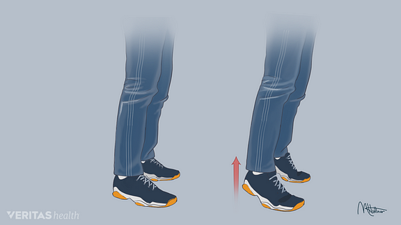 Medical illustration of heel and toe lift exercise