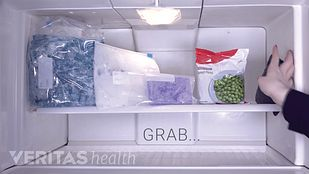Ice packs in the freezer