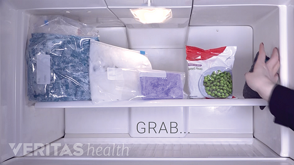 Variety of ice packs in a freezer