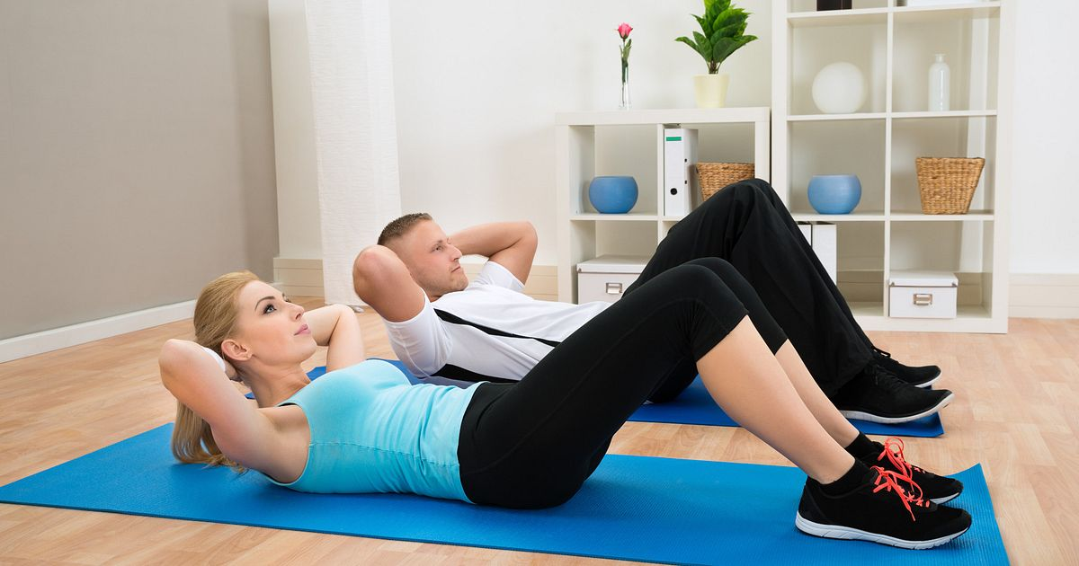 Image result for Trunk Curl - Lie on floor with knees bent and hands crossed on the chest