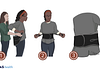 Medical illustration of 3 steps on how to put on a back brace