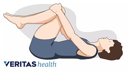 Woman lying supine with her knees to her chest.