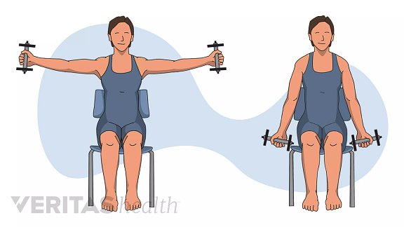 Woman performing the steps of Lateral Raises exercise