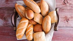 Basket of bread and rolls.