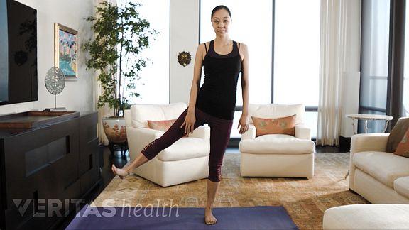 Woman performing unilateral 3 way kick