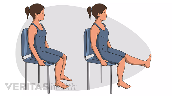 Woman sitting in a chair performing the steps of thigh and high strengthening seated leg raises.
