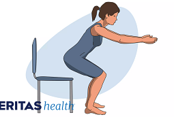 Illustration of woman performing a single-leg squat using a chair