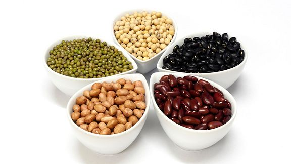 Assorted beans in bowls