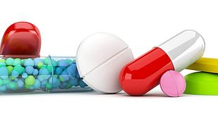 Close up of pill tablets and capsules.