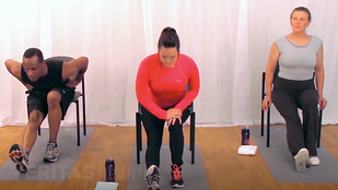 Image of three people doing variations of the seated hamstring stretch for back pain relief