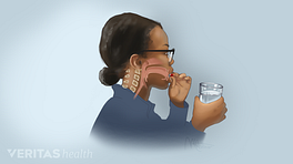 Profile view of a person swallowing pill