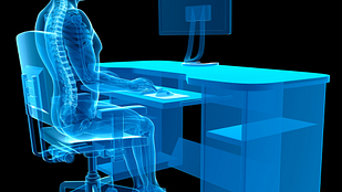 X-ray like image of person sitting at desk with proper posture