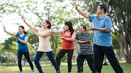 Group of people outdoors practicing Tai Chi.