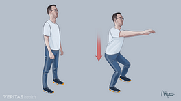 Person performing a shallow squat