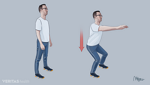 Illustration of a person performing a shallow squat