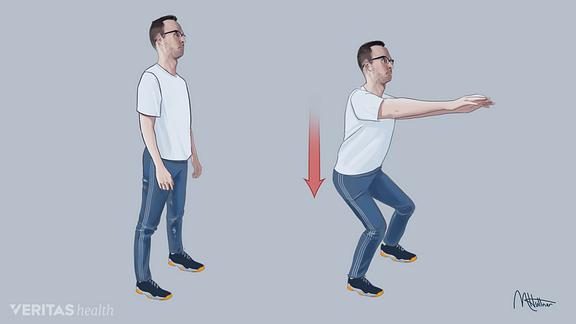 Medical illustration of shallow squat exercise