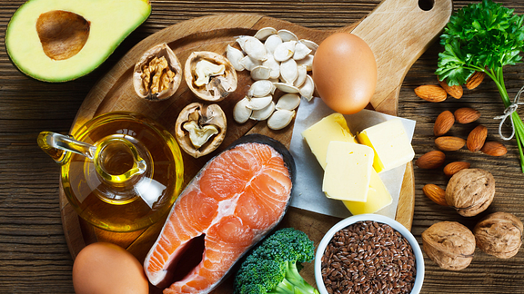 Omega-3 fatty acids are found in salmon, eggs, walnuts, and flaxseed, as well as leafy green vegetables,