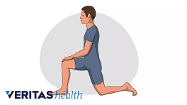 Illustration of a man doing the hip flexor stretch