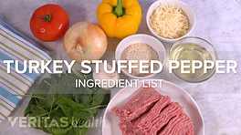 Turkey stuffed pepper ingredient list with peppers, onions, cheese, tomatoes, ground turkey, and spinach.