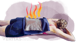 Illustration of person receiving heat therapy on their back