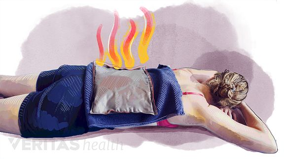 Woman lying prone with a heat pack on her back.