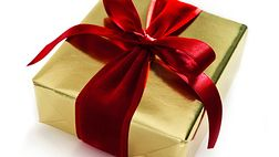 A gift box wrapped with a red ribbon