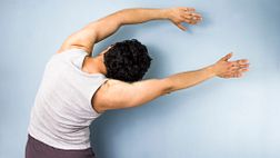 Man doing the latissimus stretch
