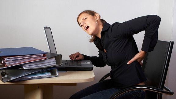 Woman Desk Office Low Back Pain