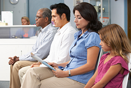 Image of several patients in a doctors waiting room