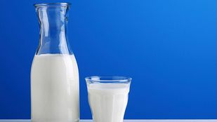 Carafe and glass of milk