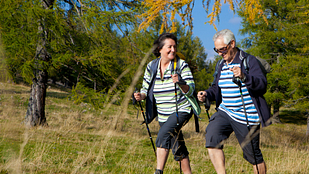 Image of an couple nordic walking