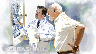 Illustration of a patient and doctor reviewing CT images