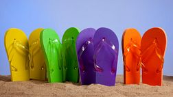 Flip Flops upright in the sand