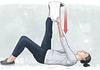 Illustration of person performing the supine hamstring towel stretch for sciatica pain relief