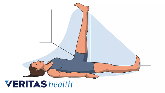 Illustration of wall hamstring stretch