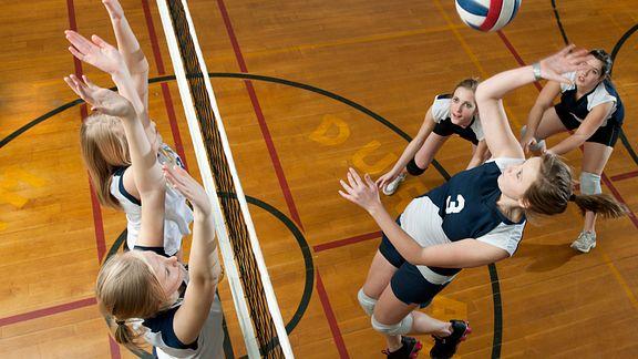 High school volleyball match from a bird's eye view
