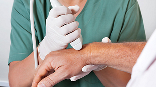 Closeup of patient getting a wrist ultrasound