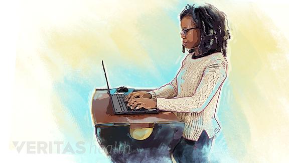 Illustration of a woman using a standing desktop converter