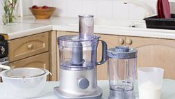 Food processor sitting on a kitchen counter