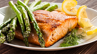 Plate of salmon and asparagus