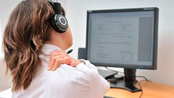 Call center employee with shoulder pain