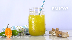 Image of anti-inflammatory cocktail in a mason jar with a straw