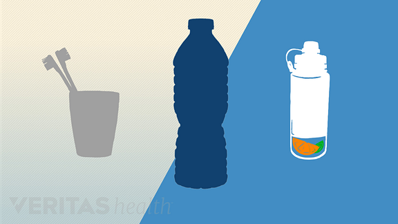 Illustration of two water bottles and two toothbrushes in a cup