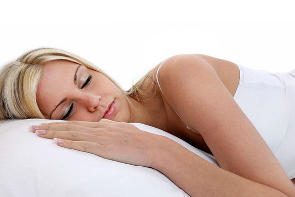 woman sleeping with pillow