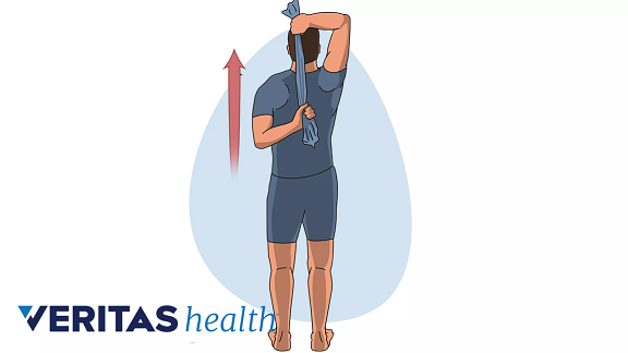 Medical illustration of the towel shoulder stretch