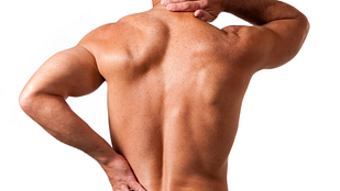 Image of man grabbing neck and back in pain