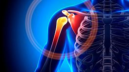 Upper body focused on the right side with pain radiating in the shoulder joint.