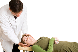 image of chiropractor performing adjustment on patient for neck pain