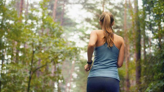 Woman running outdoors.