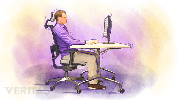 Illustration of a man sitting at a desk in an ergonomic chair